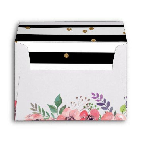 Black And White Stripe, Pink Floral & Gold Glitter Envelope