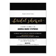 Black And White Stripes Gold Glitter Bridal Shower