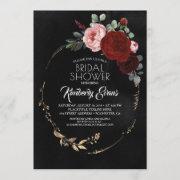 Black Burgundy Red And Gold Floral Bridal Shower Invitation