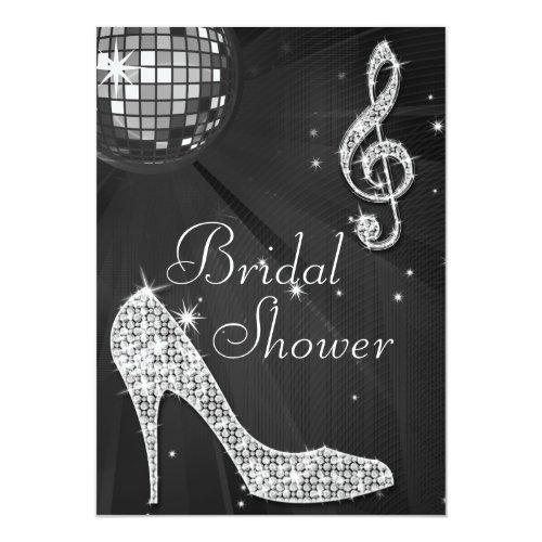 Black Disco Ball & Sparkle Heels Bridal Shower Invitations