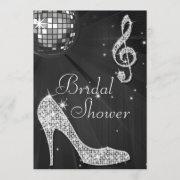 Black Disco Ball & Sparkle Heels Bridal Shower Invitation