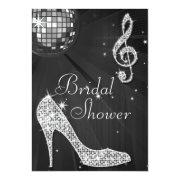 Black Disco Ball & Sparkle Heels Bridal Shower Personalized Invitation