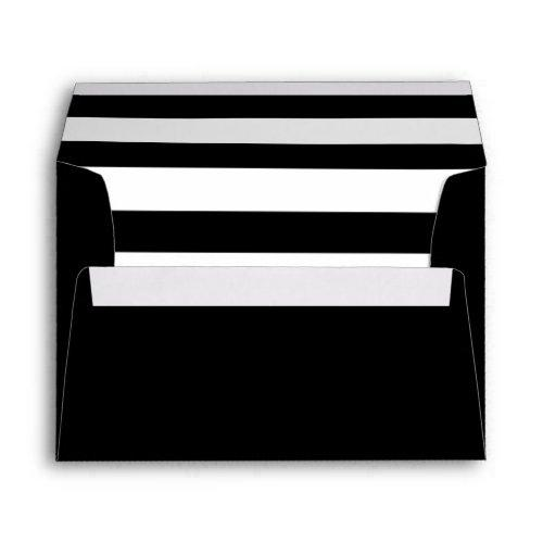 Black Envelope With A Black & White Striped Liner