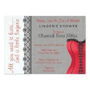 Black & Red Corset Lingerie Bridal Shower Invite Custom Invites