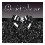 Black Sequins, Bow & Diamond Bridal Shower Personalized Announcement