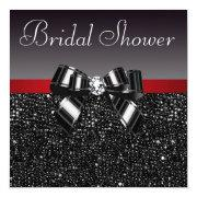 Black Sequins Diamond Bow Red Bridal Shower Invitation