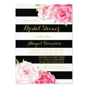Black Stripe Pink Watercolor Flowers Bridal Shower