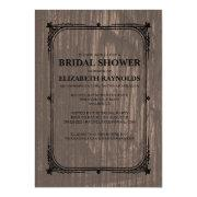 Black Western Barn Wood Bridal Shower Invitations Personalized Invite