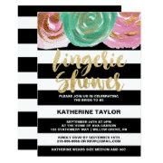 Black White Stripes And Gold Text Lingerie Shower