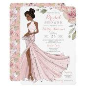 Blingy African American Bride Bridal Shower Invitation