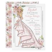 Blonde Bride Floral Bridal Shower Invitations