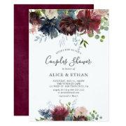 Blue And Burgundy Watercolor Floral Couples Shower Invitation