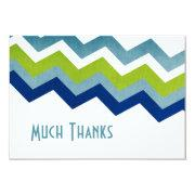 Blue and Green Zig Zag Pattern Thank You Custom Invitation