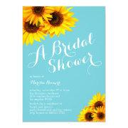 Blue And Yellow Sunflowers Bridal Shower Invitation