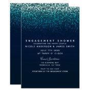 Blue Aqua Navy Glitter Sparkle Modern Engagement