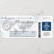 Blue Around The World Bridal Shower Boarding Pass Invitation