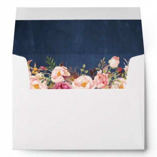 Blue Chalkboard Vintage Pink Floral Invitation Envelope
