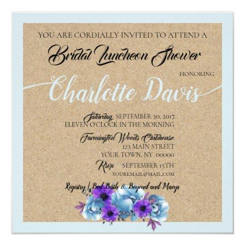 Blue Cottage Roses Shower Wedding Suite Invitation