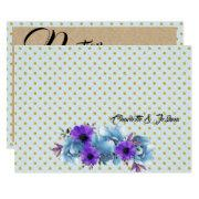 Blue Cottage Roses Wedding Suite Insert Card