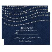 Blue Denim & Diamonds Sparkle Bling Party Rsvp