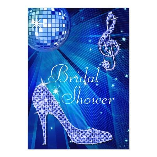 Blue Disco Ball And Sparkle Heels Bridal Shower Invitations