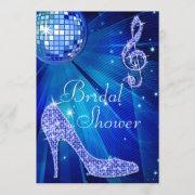 Blue Disco Ball And Sparkle Heels Bridal Shower Invitation