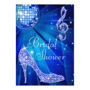Blue Disco Ball And Sparkle Heels Bridal Shower Invitation