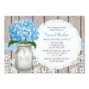 Blue Hydrangea Monogrammed Mason Jar Bridal Shower