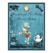 Blue Mad Hatter Wonderland Tea Party Bridal Shower Personalized Announcement