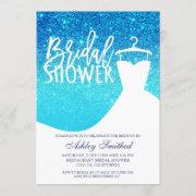 Blue Ocean Glitter Chic Dress Bridal Shower Invitation