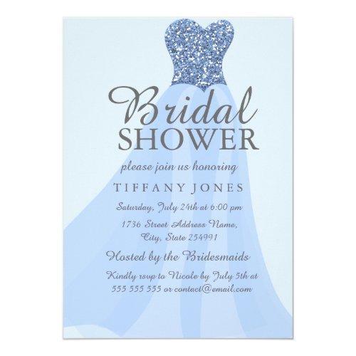 Blue Sparkling Glitter Dress Bridal Shower Invite