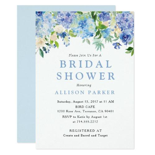 Blue Watercolor Hydrangea Bridal Shower Invitations