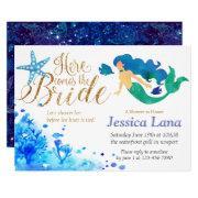 Blue Watercolor Undersea Sweet Mermaid Golden Text