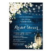 Blue Wood White Roses Lantern Bridal Shower Invitation