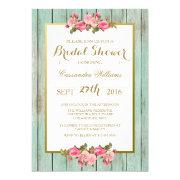 Blush And Mint - Bridal Shower Floral Invitations