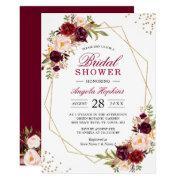 Blush Burgundy Floral Gold Frame Bridal Shower