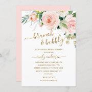 Blush Floral Brunch And Bubbly Bridal Shower Invitation