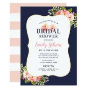 Blush Floral Watercolor With Navy Bridal Shower