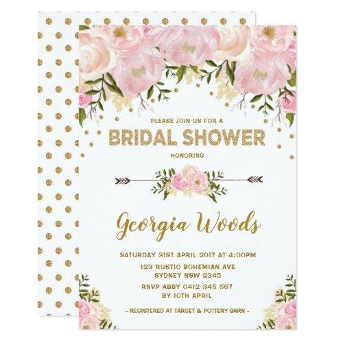 Blush Gold Bridal Shower Watercolor Peonies Invitation