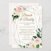Blush Gold Floral Brunch And Bubbly Bridal Shower Invitation