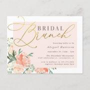 Blush & Gold Script Floral Bridal Brunch Invitation Postinvitations