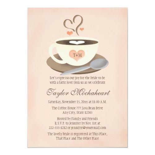 Blush Monogrammed Heart Coffee Cup Bridal Shower