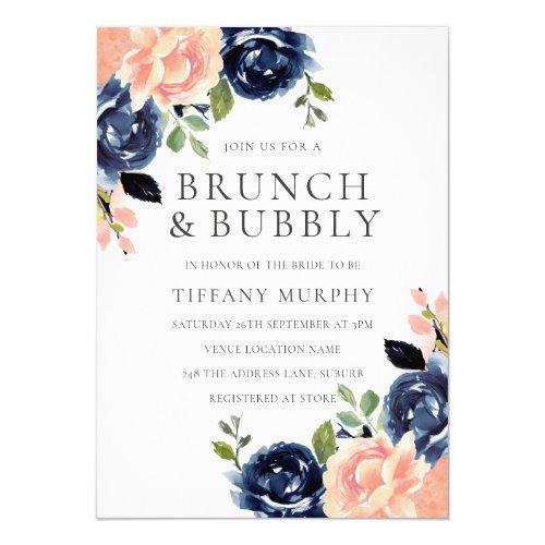 Blush & Navy Flowers Bridal Shower Brunch & Bubbly Invitation