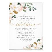 Blush Pink And White Magnolia Floral Bridal Shower Invitation