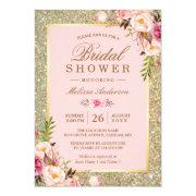 Blush Pink Floral Gold Sparkles Bridal Shower Invitation