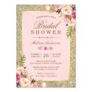 Blush Pink Floral Gold Sparkles Bridal Shower