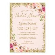 Blush Pink Gold Glitters Floral Bridal Shower Invitation