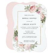 Blush Pink Rose Floral Bridal Shower Invitation