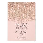 Blush Pink & Rose Gold Glitter Bridal Shower Invitations