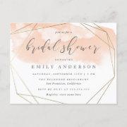 Blush Pink Watercolor Gold Geometric Bridal Shower Invitation Postinvitations